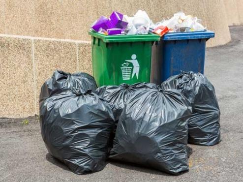 Slika kanti za smeće okruženih punim vrećama za smeće