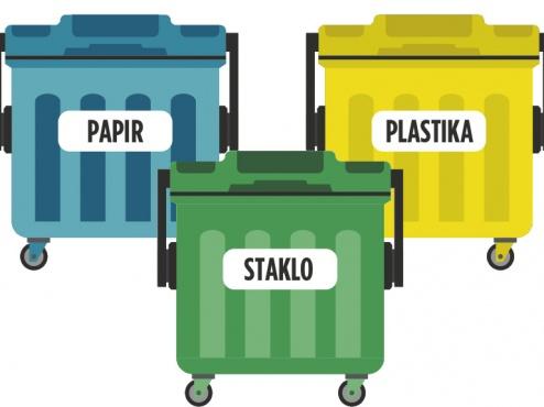 Ilustracija zelenog otoka za selekciju otpada